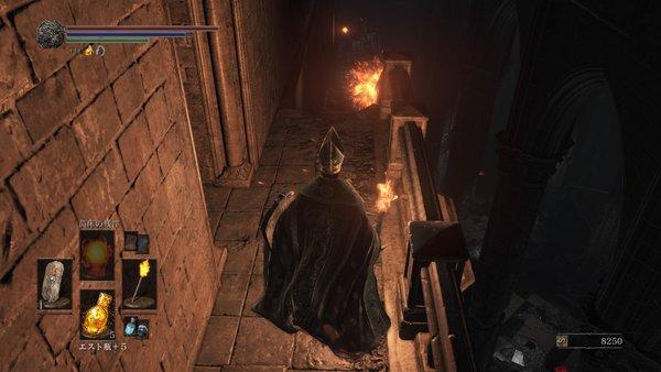 ダークソウル3 アノールロンド_呪術師が階段下から攻撃