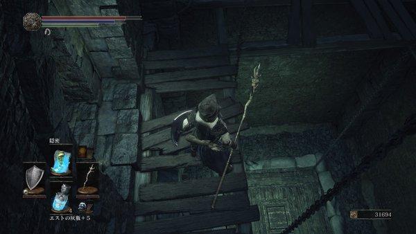 ダークソウル3 イルシールの地下牢_エレベーターの途中に降りれる場所