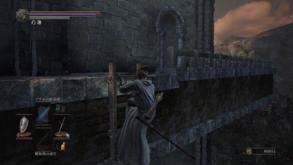 ダークソウル3 不死の遺骨_ファランの老狼から梯子を下りる