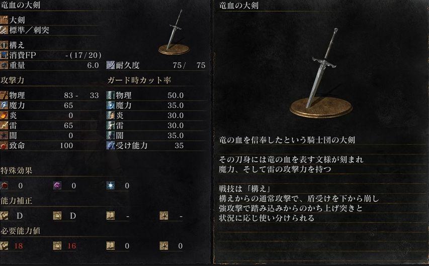 ダクソ3バージョン1.04竜血の大剣と防具