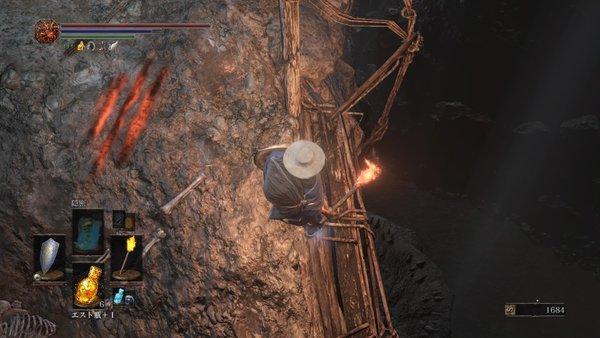 ダークソウル3 カーサスの地下墓_吊り橋から飛び降りれる